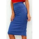 New Arrival Womens Hot Fashion Plain High Waist Bodycon Split-Back Midi Pencil Denim Skirt