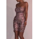 Womens Hot Trendy Strapless Sleeveless Sequin Embellished Fitted Bandeau Rompers
