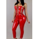 Womens Sexy Plain Strapless Sleeveless Cutout Lace Up Pu Skinny Fitted Jumpsuits