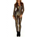 Womens Hot Sale Snake Printed Long Sleeve Zip Front Slim Fitted Metallic Jumpsuits