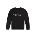 Street Letter THE 1975 Print Crewneck Long Sleeve Black Sweatshirt
