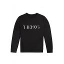 Street Letter THE 1975 Print Crewneck Long Sleeve Black Sweatshirt