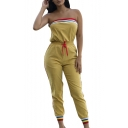 Fashion Yellow Strapless Sleeveless Contrast Trim Drawstring Waist Bandeau Jumpsuits