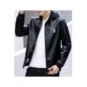Mens Stylish Simple Letter Long Sleeve Hooded Zip Up PU Jacket Coat