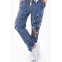 New Stylish Chic Tie Waist Floral Printed Rolled Cuff Tapered Pants