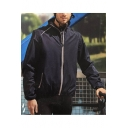 Mens Fashion Simple Plain Waterproof Windbreaker Stand Collar Zip Up Track Jacket