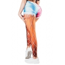 Hot Stylish Elastic Waist Colorblock Striped Printed Skinny Fit Sport Legging Pants