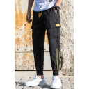 Men's New Stylish Contrast Stripe Side Flap Pocket Drawstring Waist Casual Cotton Cargo Pants