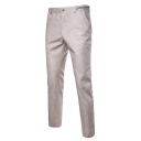Guys New Fashion Contrast Stripe Waist Linen Tailored Suit Pants Dress Pants
