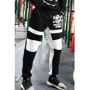 Men's Hot Fashion Colorblock Letter MUSIC DOG Printed Drawstring Waist Fitness Sweatpants