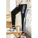 Guys New Fashion Colorblock Stripe Side Letter Printed Drawstring Waist Casual Warm Sports Sweatpants