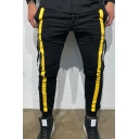 Men's Trendy Contrast Stripe Side Zip Embellished Drawstring Waist Casual Slim Pencil Pants