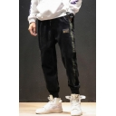 New Stylish Colorblock Patched Side Men's Casual Loose Corduroy Tapered Pants