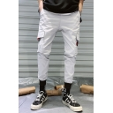 Men's New Fashion Letter Patchwork Flap Pocket Side Casual Slim Cargo Pants