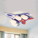Cool Plane Semi Flush Mount Light 4 Heads Blue/Red Ceiling Lamp in Warm with/without Controller for Baby Room
