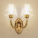 Hotel Dandelion/Prismatic/Ribbed Wall Light Metal 2 Lights Elegant Style Gold Sconce with Crystal Bead
