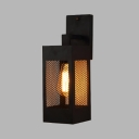 Rectangle Mesh Screen Sconce Light Retro Loft 1 Bulb Black Wall Light for Balcony Kitchen