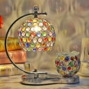 Metal Globe Table Light with Clear/Multi-Color Crystal 1 Head Tiffany Style Table Lamp in Chrome for Shop