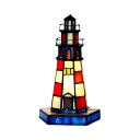1 Light Lighthouse Desk Light Creative Tiffany Stained Glass Night Light for Kid Gift