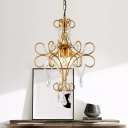 Traditional Candle Suspension Light with Crystal Bead Metal 3 Lights Gold Chandelier for Cafe Study Room
