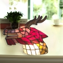 Dragon Head Cafe Table Light Art Glass 1 Bulb Tiffany Creative Night Lamp in Pink