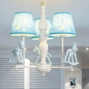Resin Horse Ceiling Pendant with Tapered Shade Baby Room 3/5 Heads Nordic Style Chandelier in Blue/Pink
