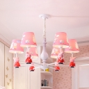 Cartoon Pink Hanging Light Piggy 3/5/6 Lights Metal Chandelier with Fabric Shade for Nursing Room