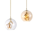 Creative Gold Pendant Light Globe Shade 3 Lights Amber/Clear Glass Chandelier for Hallway Bathroom