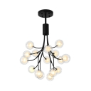 Black Grape Shaped Chandelier 16 Lights Contemporary Glass Metal Pendant Light for Dining Room