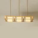 Asian Style White Island Lamp Cube Shade 3 Bulbs Opal Glass Wood Island Light for Restaurant