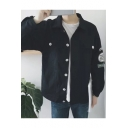 Guys Simple Letter Patched Pocket Chest Long Sleeve Button Down Work Denim Jacket Coat