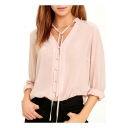 Womens Summer Pink Solid Color Tied V-Neck Long Sleeve Button Down Chiffon Blouse Top