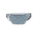 New Fashion Ripped Embellishment Leopard Pattern Denim Crossbody Belt Bag 28*13*7.5 CM
