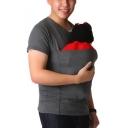 Mens Unique Fashion Kangaroo Pocket Design Round Neck Short Sleeve Fitted T-Shirt