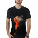 Fashion 3D Galaxy Cat Printed Round Neck Short Sleeve Black T-Shirt