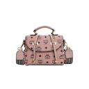 Stylish Printed Belt Buckle Striped Wide Strap Portable School Satchel Messenger Bag Casual Handbag 21*17*11 CM