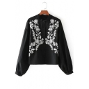 Womens Chic Floral Embroidery Lantern Long Sleeve Button Down Casual Blouse Shirt