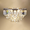 Elegant Style Wall Sconce with Crystal Bar & Ball Three Lights Wall Lamp for Study Room Bedroom