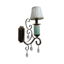 Ceramics Tapered Shade Wall Light with Teardrop Crystal 1 Light Traditional Sconce Light in Black for Cafe