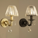 Restaurant Hotel Tapered Shade Sconce Metal 1 Head Traditional Black/Gold Wall Lamp with Crystal
