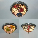 Dragonfly/Flower/Leaf Flush Mount Light 3 Lights Traditional Tiffany Stained Glass Ceiling Light for Corridor