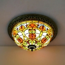 12/16 Inch Bowl Shade Ceiling Mount Light Victorian Style Stained Glass Ceiling Lamp for Study Room