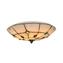 Simple Style Beige Ceiling Light with Multi-Color Bead Bowl Art Glass Flush Mount Light for Study Room