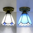 Art Glass Conical Ceiling Mount Light One Head Tiffany Classic Flush Light in Blue/White for Study Room