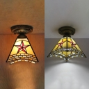 Tiffany Classic Craftsman Ceiling Mount Light with Star 1 Bulb Glass Flush Light for Bedroom