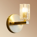 Traditional Candle Wall Sconce Single Head Metal Wall Light in Gold with Clear Crystal for Kitchen