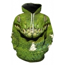 New Stylish Funny Green Frog Printed Long Sleeve Unisex Loose Fit Drawstring Hoodie