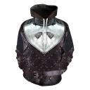 Popular Game of Thrones Wolf Head 3D Armour Printed Long Sleeve Sport Loose Drawstring Hoodie