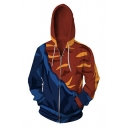 Fashion Comic Cosplay Costume 3D Colorblock Blue and Orange Zip Up Sport Loose Hoodie
