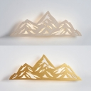 Art Deco Mountain Wall Light Wood Beige/Gold LED Sconce Light with Warm Lighting for Adult Bedroom